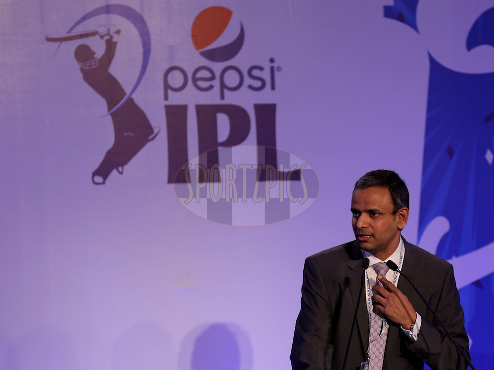 Sundar Raman CEO of IPL during the Pepsi IPL Player Auction held at the ITC Gardenia in Bengaluru, India on the 12th February 2014<br /> <br /> Photo by Sandeep Shetty/BCCI/SPORTZPICS
