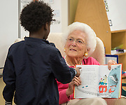 Barbara Bush reads with students at Walnut Bend Elementary School launching Read Aloud Month, March 1, 2016.