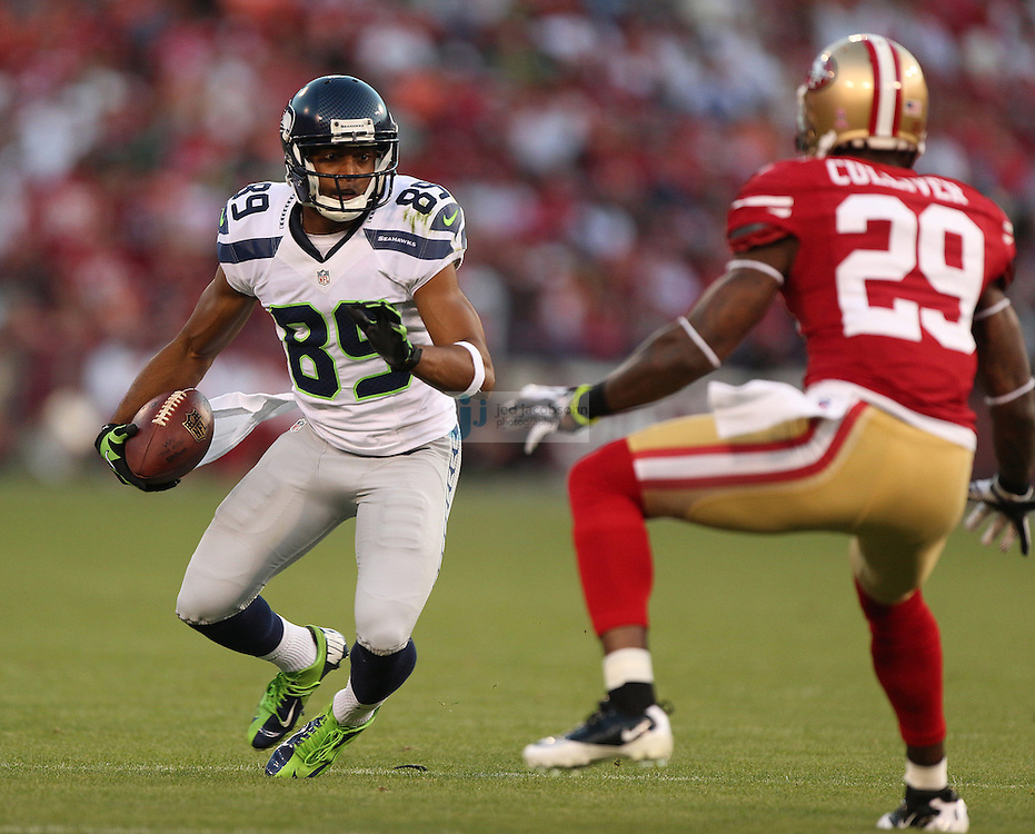 Seattle Seahawks wide receiver Doug Baldwin (89) runs against San Francisco 49ers cornerback Chris Culliver (29) on Thursday, Oct. 18, 2012 at Candlestick Park in San Francisco. (AP Photo/Jed Jacobsohn)