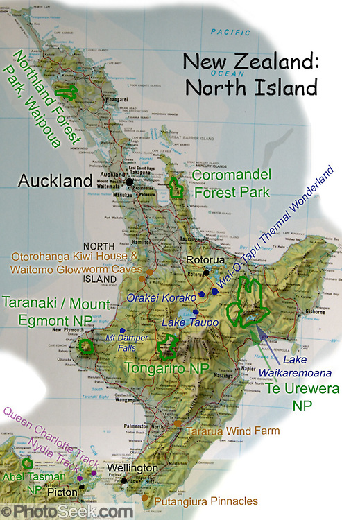 Map Of New Zealand North Island.Relief Map Of North Island New Zealand Favorite Parks Sights