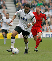 Photo: Steve Bond.<br />Derby County v Coventry City. Coca Cola Championship. 09/04/2007. Giles Barnes attacks as Michael Doyle chases
