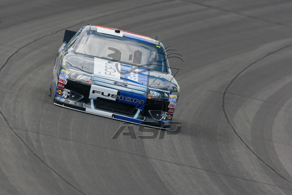 KANSAS CITY, KS - APR 20, 2012:  Matt Kenseth (17) brings his car through the turns during a practice session for the STP 400 at the Kansas Speedway in Kansas City, KS.