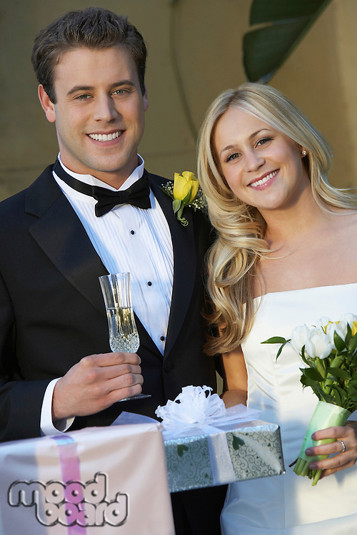 Bride and groom with wedding presents