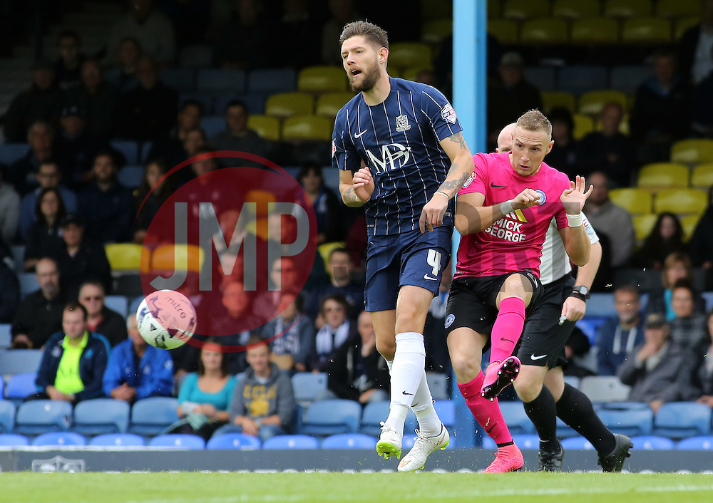 Marcus Maddison of Peterborough United in action with Southend United's Anthony Wordsworth - Mandatory byline: Joe Dent/JMP - 07966386802 - 05/09/2015 - FOOTBALL - Roots Hall -Southend,England - Southend United v Peterborough United - Sky Bet League One