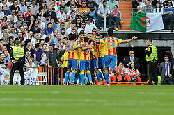 09.05.2015, Estadio Santiago Bernabeu, Madrid, ESP, Primera Division, Real Madrid vs FC Valencia, 36. Runde, im Bild Valencia&acute;s players celebrate a goal // during the Spanish Primera Division 36th round match between Real Madrid CF and Valencia FC at the Estadio Santiago Bernabeu in Madrid, Spain on 2015/05/09. EXPA Pictures &copy; 2015, PhotoCredit: EXPA/ Alterphotos/ Luis Fernandez<br /> <br /> *****ATTENTION - OUT of ESP, SUI*****