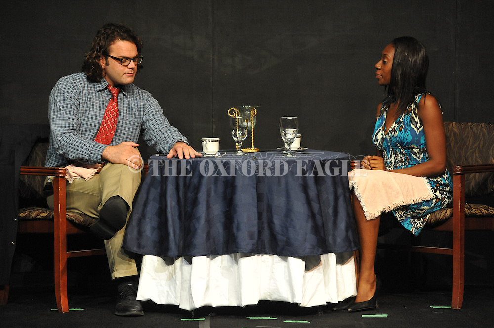 Bill Phillips (left) and Chasity Williams White rehearse the play Dinner & Destiny as part of the Ten Minute Play Festival, at the Powerhouse in Oxford, Miss. on Tuesday, September 18, 2012. The Ten Minute Play Festival will be held September 20, 21, and 23.
