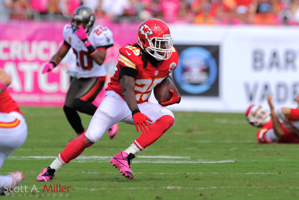 Kansas City Chiefs running back Jamaal Charles (25) during the Chiefs game against the Tampa Bay Buccaneers at Raymond James Stadium  on Oct. 14, 2012 in Tampa, Florida. ..(SPECIAL TO FOXSPORTS.COM/Scott A. Miller)...