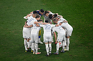 SYDNEY, AUSTRALIA - JULY 20: Leeds United in a huddle before the club friendly football match between Leeds United and Western Sydney Wanderers FC on July 20, 2019 at Bankwest Stadium in Sydney, Australia. (Photo by Speed Media/Icon Sportswire)