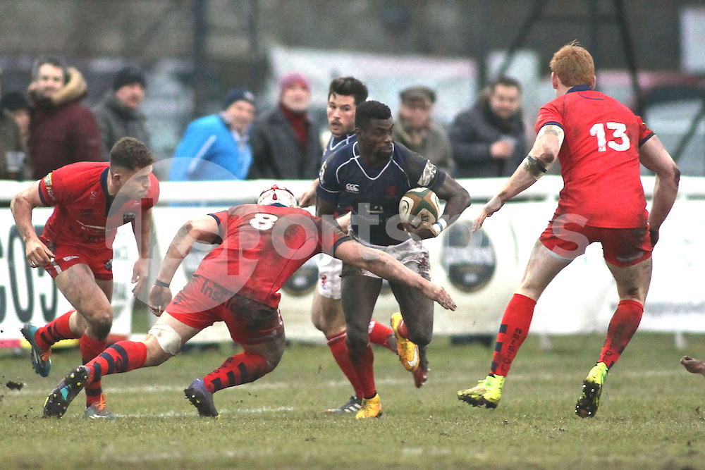 Matt Williams of London Scottish in action during the Green King IPA Championship match between London Scottish &amp; Bristol at Richmond, Greater London on 7th February 2015<br /> <br /> Photo: Ken Sparks | UK Sports Pics Ltd<br /> London Scottish v Bristol, Green King IPA Championship, 7th February 2015<br /> <br /> &copy; UK Sports Pics Ltd. FA Accredited. Football League Licence No:  FL14/15/P5700.Football Conference Licence No: PCONF 051/14 Tel +44(0)7968 045353. email ken@uksportspics.co.uk, 7 Leslie Park Road, East Croydon, Surrey CR0 6TN. Credit UK Sports Pics Ltd