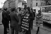 Cork Shoe Workers Protest.     K15..1976..24.03.1976..03.24.1976..24th March 1976..In protest at the winding up of the Cork shoe industry, 10 workers  from the Cork Shoe Co marched from Cork to Dublin to meet with TDs at Leinster House. The protest was to highlight the closure of The Cork shoe Co resulting in the unemployment of all the staff..Image of Pearse Wyse ,Gene Fitzgerald  and Sean French TDs meeting with the protesting workers at the gates of Leinster House.