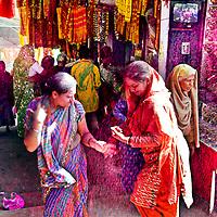 Ladies dancing on the tune. A glimpse of the Holi Celebration in Barsana. Braj ki Holi