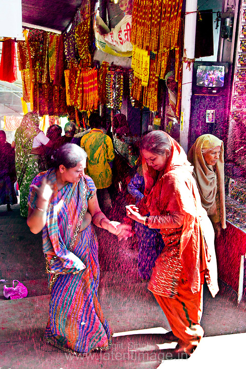 Ladies dancing on the tune. A glimpse of the Holi Celebration in Barsana. Braj ki Holi