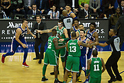 Scuffle breaks out  during the NBA London Game match between Philadelphia 76ers and Boston Celtics at the O2 Arena, London, United Kingdom on 11 January 2018. Photo by Martin Cole.