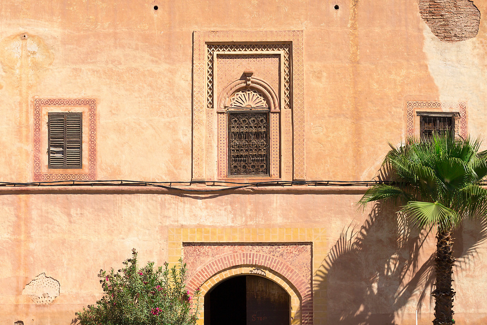Agdal Gardens, Marrakesh, Morocco, 2016–04-22.<br /><br />Said to be the most important garden in Marrakesh and built in the 12th Century by the Almohad Dynasty, the Agdal gardens where originally created as an orchard and cover over 400 hectares. <br /><br />The name derives from an old Amazigh (Berber) word to refer to a 'walled meadow,' reflecting the lines of groves which make up the huge expanse of garden, including orange, lemon, fig, apricot and pomegranate trees, as well as lines upon lines of olive groves. <br /><br />Like the Menara, the true spectacle of the Agdal is found in appreciating it's astonishing and highly sophisticated irrigation system - a network of underground channels which bring water all the way from the Atlas mountains to a vast water basin, which then feeds the groves and orchards all year round.