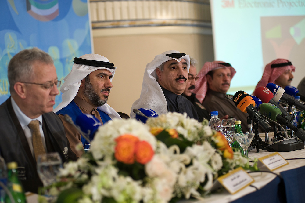 Kuwaiti Interior and Information ministry officials as well as representatives of Kuwaiti and international observer agecies at a news conference in Kuwait City Feb. 1 about preparations for the Feb. 2 parliamentary elections. Some 300 local volunteers and 30 international observers will monitor the polls in which about 285 candidates are running for the new 50-seat assembly.