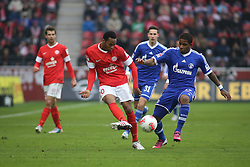 16.02.2013, Coface Arena, Mainz, GER, 1. FBL, 1. FSV Mainz 05 vs FC Schalke 04, 22. Runde, im Bild v.l.: Junior Diaz (MZ) gegen Jefferson Farfan (S04) // during the German Bundesliga 22th round match between 1. FSV Mainz 05 and FC Schalke 04 at the Coface Arena, Mainz, Germany on 2013/02/16. EXPA Pictures © 2013, PhotoCredit: EXPA/ Eibner/ Matthias Neu ***** ATTENTION - OUT OF GER *****