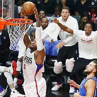 02 November 2016: Los Angeles Clippers center Marreese Speights (5) goes for the dunk past Oklahoma City Thunder center Joffrey Lauvergne (77) during the Oklahoma City Thunder 85-83 victory over the Los Angeles Clippers, at the Staples Center, Los Angeles, California, USA.