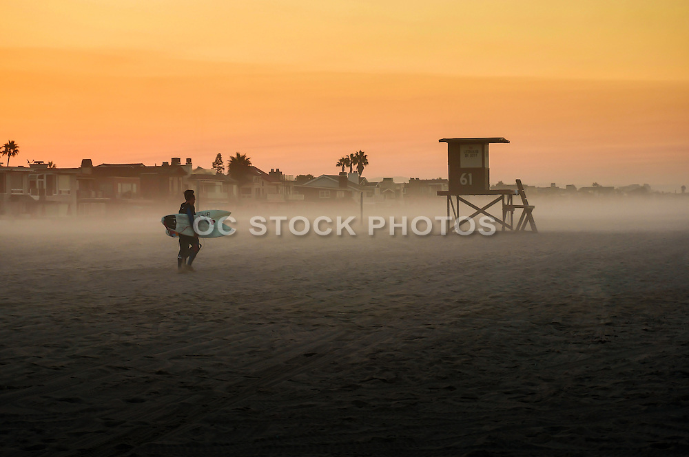 Surfers at Sunrise in Newport Beach