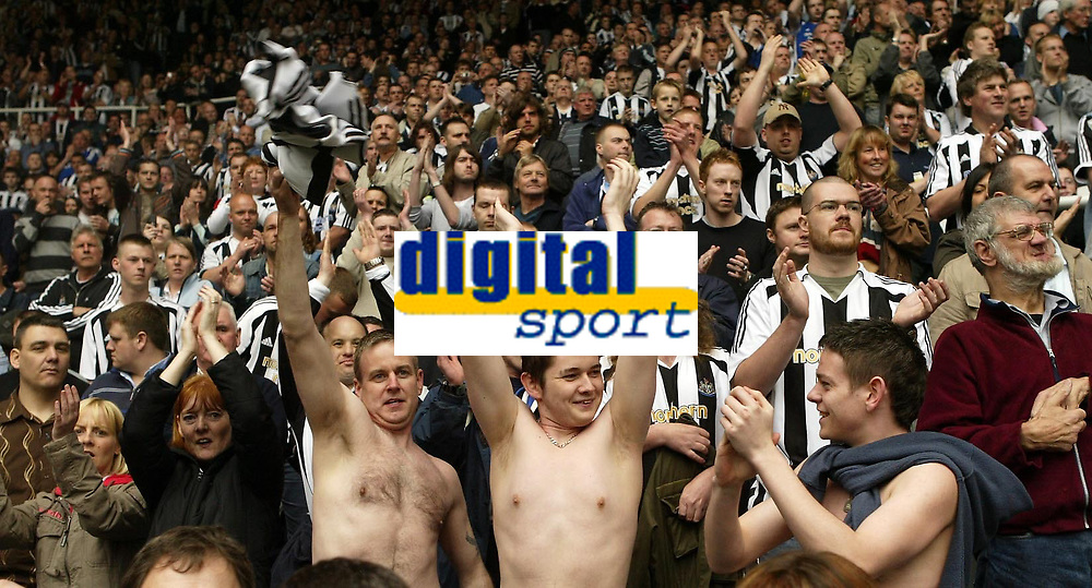 Photo: Andrew Unwin.<br /> Newcastle United v Chelsea. The Barclays Premiership. 07/05/2006.<br /> The Newcastle fans celebrate at the end of the game.