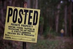 A no trespassing sign is posted near Mendocino, California, USA.