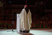 KRAKOW,POLAND 27 JULY: World Youth Day Pilgrims gather at the Tauren Arena for the Celebration of Mass Presided over by Cardinal O'Malley of Boston and Archbishop Lori from Connecticut. Speakers, Chris Stephanick and Jason and Crystalina Evert preceded the Mass,