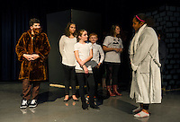 "Michael Frakes as Ruebenon Ryebread, Izzy Thibault as Sally Cotter and Shia Rankin as Professor Albatross Underdrawers during a dress rehearsal scene for ""Sally Cotter and The Censored Stone"" at Laconia Middle School on Wednesday afternoon.  (Karen Bobotas/for the Laconia Daily Sun)"