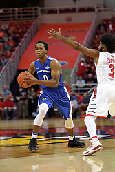 14 November 2016: Mo Evans(0) passes off while guarded by Keyshawn Evans(3)  during an NCAA  mens basketball game between the Indiana Purdue Fort Wayne Mastodons the Illinois State Redbirds in Redbird Arena, Normal IL