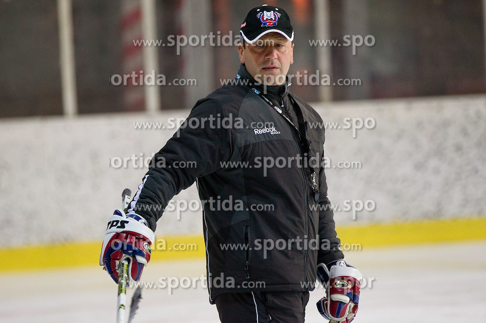 Gorazd Drinovec, head coach during Practice session of Slovenian U20 ice-hockey team, on December 08, 2011 in Ledena dvorana, Bled, Slovenia. (Photo By Vid Ponikvar / Sportida.com)