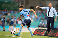 SYDNEY, AUSTRALIA - APRIL 06: Sydney FC midfielder Milos Ninkovic (10) tries to keep the ball in at round 24 of the Hyundai A-League Soccer between Sydney FC and Melbourne Victory on April 06, 2019, at The Sydney Cricket Ground in Sydney, Australia. (Photo by Speed Media/Icon Sportswire)