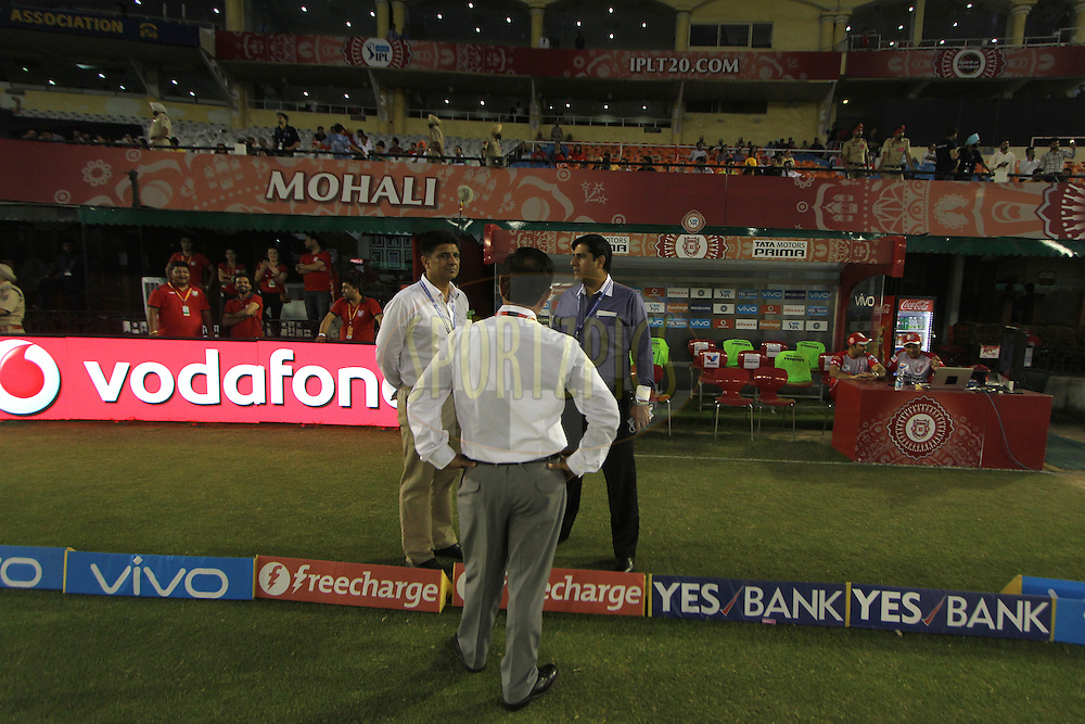 Branding and officials during match 39 of the Vivo Indian Premier League ( IPL ) 2016 between the Kings XI Punjab and the Royal Challengers Bangalore held at the IS Bindra Stadium, Mohali, India on the 9th May 2016<br /> <br /> Photo by Arjun Singh / IPL/ SPORTZPICS