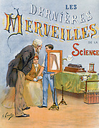 X-ray being taken of a boy's shoulder. Title page of 'Les dernieres merveilles de la science' (The Latest Marvels of Science), Paris, c1895.  Electricity Battery Acid Ruhmkorff Coil  Medicine Diagnosis