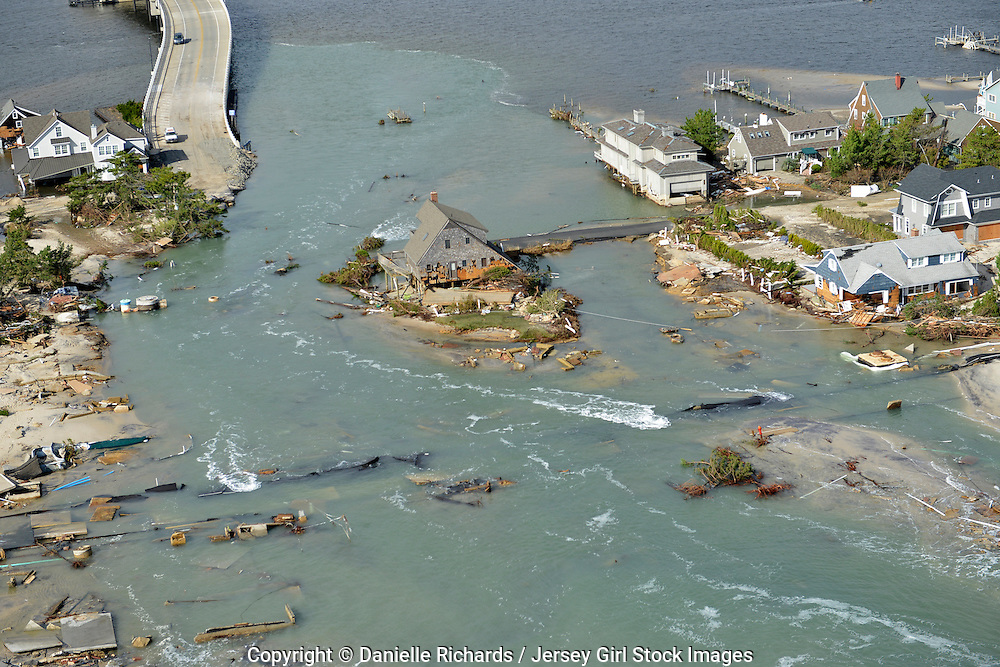 11/1/12 - Aftermath of  Hurricane Sandy in New Jersey.  Devastation left by Hurricane Sandy after it pummeled the New Jersey coast.  Especially hard-hit was the area in and around Mantoloking, where the bridge was washed away.  Danielle Richards / Jersey Girl Stock Images