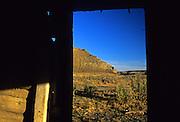 Missouri River Breaks from inside an abandoned cabin. Missouri River Breaks National Monument, Montana
