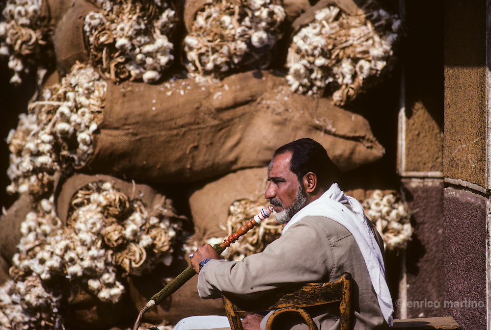 Islamic Cairo. Garlic and onions and  at suq of  al-Hakim mosque.
