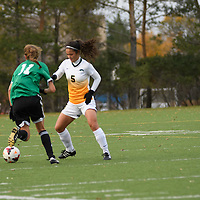 3rd year defender Angela Lalonde (5) of the Regina Cougars in action during the Women's Soccer home game on October 7 at U of R Field. Credit: Arthur Ward/Arthur Images