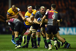 Chris Robshaw of Harlequins looks to offload the ball after being tackled - Mandatory byline: Patrick Khachfe/JMP - 07966 386802 - 23/11/2019 - RUGBY UNION - The Twickenham Stoop - London, England - Harlequins v Bath Rugby - Heineken Champions Cup