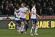 Tottenham Hotspur Harry Kane (10) scores and celebrates his  goal 1-1 second half during the The FA Cup 4th round match between Newport County and Tottenham Hotspur at Rodney Parade, Newport, Wales on 27 January 2018. Photo by Gary Learmonth.