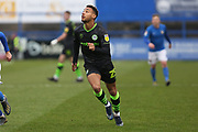 Junior Mondal in action during the EFL Sky Bet League 2 match between Macclesfield Town and Forest Green Rovers at Moss Rose, Macclesfield, United Kingdom on 25 January 2020.