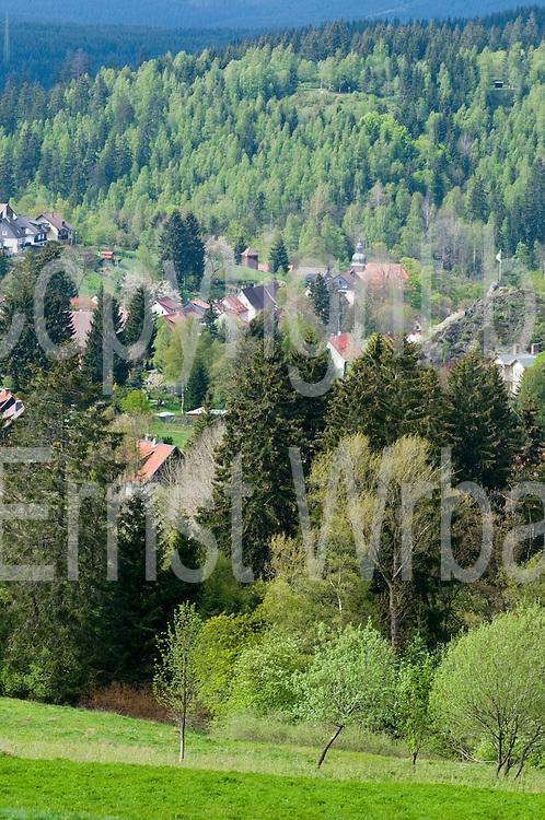 Blick auf Altenau im Tal, Harz, Niedersachsen, Deutschland | view on Altenau in valley, Harz, Lower Saxony, Lower Saxony, Germany