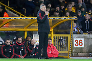 Manchester United interim Manager Ole Gunnar Solskjaer gestures during the The FA Cup match between Wolverhampton Wanderers and Manchester United at Molineux, Wolverhampton, England on 16 March 2019.