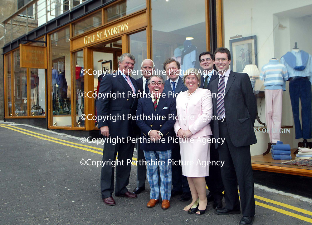 Golf St Andrews shop, a joint venture between the House of Bruar and the R&amp;A, which was officially opened by Ronnie Corbett, pictured with from left, Mark Birkbeck, Graeme Simmers R&amp;A Captain, James Sugden of Johnstons of Elgin, Linda Birkbeck, Patrick Birkbeck, House of Bruar MD and ??????<br /><br />Picture by Graeme Hart.<br />Copyright Perthshire Picture Agency<br />Tel: 01738 623350  Mobile: 07990 594431