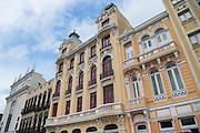 Hotel 55 Rio in an restored Portuguese colonial building along the Avenida República do Paraguai in the Lapa neighborhood of Rio de Janeiro, Brazil.