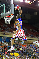 04 May 2006: High flier Kris Bruton (26) goes for a soaring dunk during the Harlem Globetrotters vs the New York Nationals at the Sulivan Arena in Anchorage Alaska during their 80th Anniversary World Tour.  This is the first time in 10 years that the Trotters have visited Alaska.