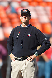 Oct 30, 2011; San Francisco, CA, USA; San Francisco 49ers head coach Jim Harbaugh watches his team warm up before the game against the Cleveland Browns at Candlestick Park. San Francisco defeated Cleveland 20-10. Mandatory Credit: Jason O. Watson-US PRESSWIRE