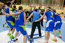 Players of team Slovenia celebrate after handball match between National teams of Slovenia and Hungary in play off of 2015 Men's World Championship Qualifications on June 15, 2014 in Rdeca dvorana, Velenje, Slovenia. Photo by Urban Urbanc / Sportida