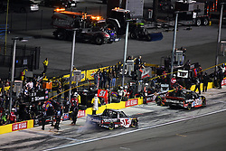 March 1, 2019 - Las Vegas, NV, U.S. - LAS VEGAS, NV - MARCH 01: Kyle Busch (51) KBM Toyota Tundra completes a pit stop during the NASCAR Gander Outdoors Truck Series Strat 200 on March 01, 2019, at Las Vegas Motor Speedway in Las Vegas, NV. (Photo by Chris Williams/Icon Sportswire) (Credit Image: © Chris Williams/Icon SMI via ZUMA Press)