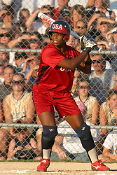 30 June 2004  Team USA's Natasha Watley leads off. Bloomington Lady Hearts vs. USA Olympic Softball Team.  Champion Field #1.  Normal Illinois