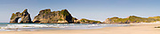Panoramic view of the Archway Islands, on the north coast of New Zealand's South Island, near Puponga.
