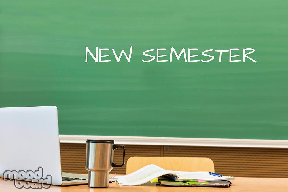 New Semester written on black board in classroom