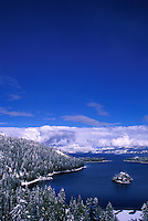 Scenic of Emerald Bay on Lake Tahoe, CA the morning after a snow storm.